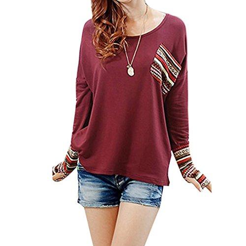 ESAILQ Damen Frauen Casual Kurzarm Stretch Falten Tunika Bluse Sommer Obteile mit Knöpfen V-Ausschnitt Ladies Shirt mit Gummizug Am Saum(M,Rot)