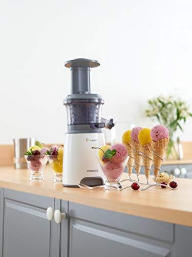 Kenwood Pure Juice JMP600WH Extractor de zumos saludables, uso silencioso, con función de aclarado y tapón anti-goteo, 250 W, 1.3 litros, Plástico, 2 Velocidades, Blanco
