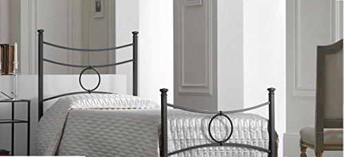 Bed Store Letto Singolo in Ferro BATTUTO Modello Conca Colore Nero Grafite