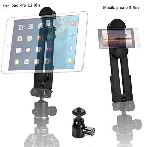 ohCome 2in1 Telefono Tavoletta Adattatore per treppiede Supporto per morsetto per tablet misura 3,5-12,9' pollici Pad come iPad Pro/Air/Mini, Telefoni & Mini testa a sfera del treppiede