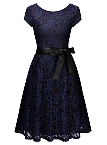 Miusol Damen Elegant?Bogen Guertel Hochzeit Brautjungfer Mini Spitzenkleider Abendkleider Navy Blau Gr.3XL - 5