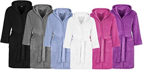 Kinderbademantel Kuschel Soft Fleece mit Kaputze & Taschen Jungen, Mädchen (164, Weiss) Microfaser Mantel/Bademantel Kinder