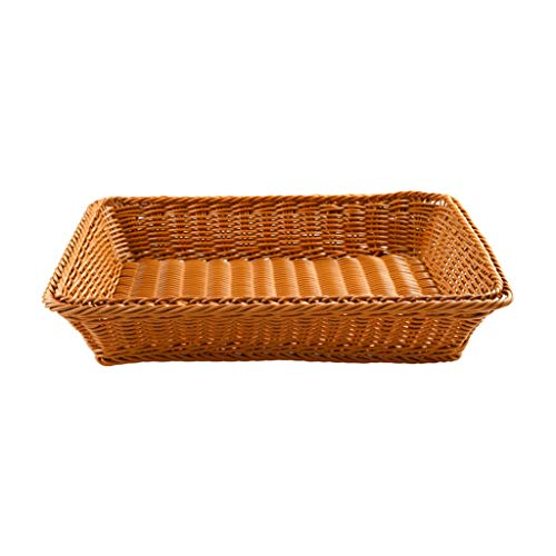 KunmniZ Handwoven Rectangular High Fruits Gray Basket Container Imituted Rattan Picnic Square Retting Home Decor Storage Management Accessories