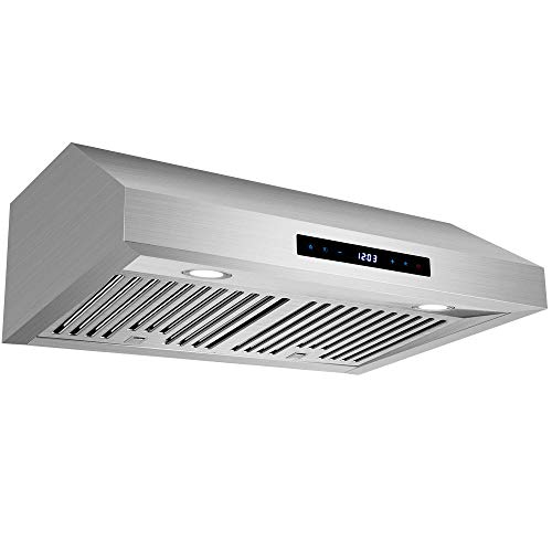 Range Hood 30 inch Under Cabinet in Stainless Steel, 760 CFM Ducted Kitchen Stove Vent Hood with 3 Speed Exhaust Fan, Touch Control, Baffle Filters, Timer Shut off, Clock Display, HTHomeprod