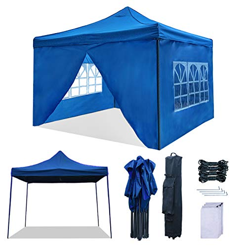 RNSSEZ 3m x 3m Pop Up Gazebo with Sides Panels, Fully Waterproof, Heavy Duty, Garden Gazebo Marquee Tent with Black Wheeled Carry Bag(Blue)