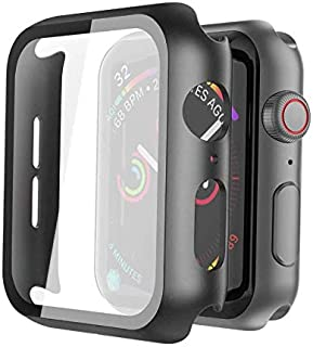 Black Hard Case for Apple Watch Series 5 Series 4 44mm with Screen Protector, Ultra Thin Hard PC Case Slim Tempered Glass ...