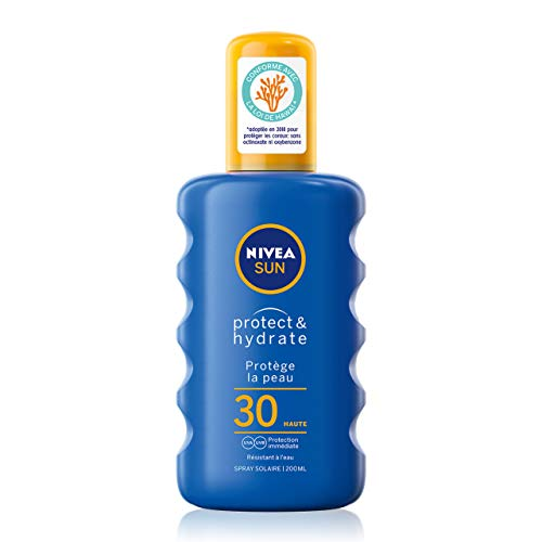 NIVEA SUN Spray solaire Protect & Hydrate FPS 30 (1 x 200 ml), crème solaire haute protection, protection solaire pour adultes hydratante et résistante à l'eau