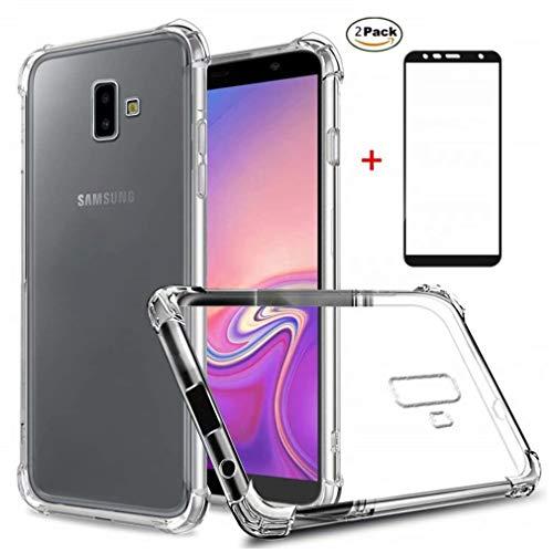 Coque Samsung Galaxy J6 Plus Ttimao Souple Transparente TPU Silicone Conception de Coussin d'air Protection Contre Les Gouttes Ultra Mince Housse Protection+2*Protecteur D'écran en Verre Trempé