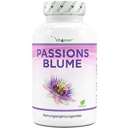 Passionsblume Extrakt - 240 Kapseln - Premium: 1100 mg Extrakt 5:1 (entspricht 5500 mg Passionsblume) pro Tagesportion - Extra Hochdosiert - Ohne unerwünschte Zusätze - Vegan - Laborgeprüft