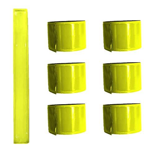 Projects Reflektorbänder 6er Set gelb | Schnapparmband Reflektor Kinder Erwachsene reflektierendes Armband | Schnapp Reflektoren für Kleidung Reflektorband Joggen Laufen Fahrrad Leuchtstreifen