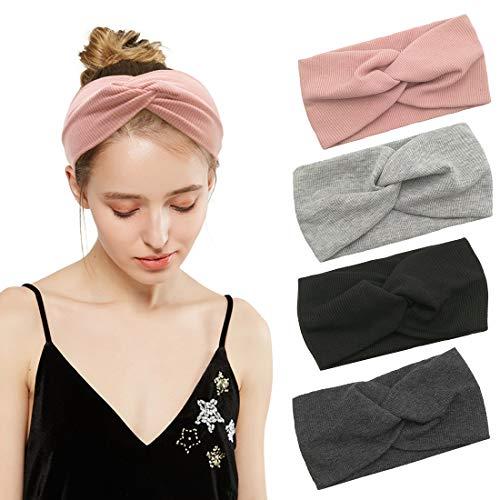 Durio Haarband Damen Stirnband Elastisch Haarreife Breit Kopfwickel Einfarbig Kopfband Blumendruck Schminken 4 Pack B-1