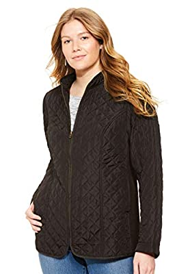Woman Within Women's Plus Size Zip-Front Quilted Jacket - 5X, Black from Woman Within