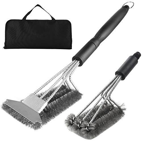 OSQI Outdoor Barbecue Cleaner Brush Grill Brush and Scrapers,Stainless Steel Barbecue Brush, Barbecue Net, Barbecue Rack, Steel Wire Brush, BBQ Tool