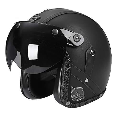 GAOZ Roller-Helm Jet-Helm Fashionhelm, Roller Motorradhelm mit Visier Motorrad Elektro Pilot Moped Cruiser Chopper Helm Männer Frauen ECE Approved Schweißresistente und Belüftete, M/L/XL (55-60 cm)