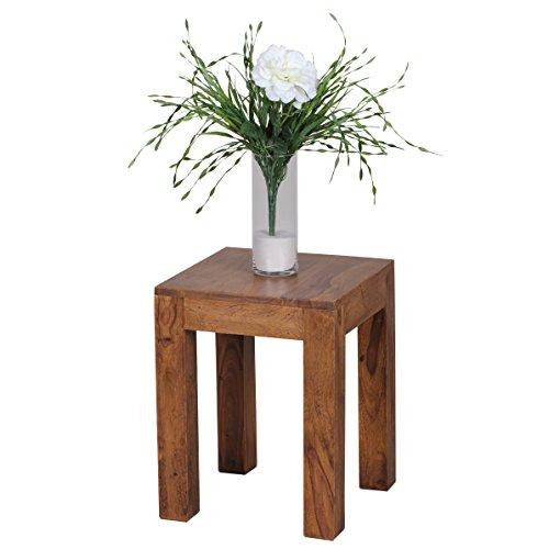 WOHNLING Beistelltisch Massiv-Holz Sheesham 35 x 35 cm Wohnzimmer-Tisch Design dunkel-braun Landhaus-Stil Couchtisch Natur-Produkt Wohnzimmermöbel Unikat modern Massivholzmöbel Echtholz Anstelltisch