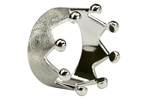 SILBERMOOS Damen Ring Krone Kronenring Crown Queen gebürstet Sterling Silber 925, Größe:54 (17.2)