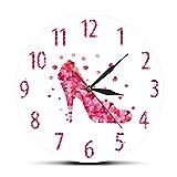 CVG Pink Rose Petal Style Scarpe con Tacco Alto Orologio da Parete Silenzioso Pink Fashion Wall Art Donna Camera da Letto Girly Home Decor Hanging Wall Watch Regali per Uomo