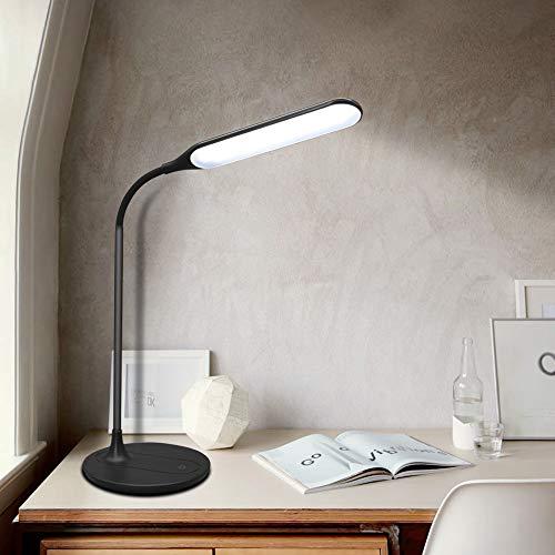 Artpad 6W Zwart USB Wireless Shine Tafellamp, 3 Stappen Dimbaar Studielicht met Afneembare Basis, 360 ° Draaibare Arm Wit Licht LED Bureau Leeslamp