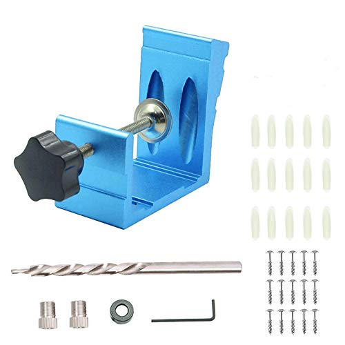 Inclined Hole Positioner, Pocket Hole Jig Kit 38PCS Dowel Drill Joinery Screw Kit Aluminum Alloy Woodworking Punch Joint Angle Tool Carpentry Locator