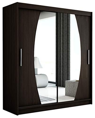 Kryspol Schwebetürenschrank Elypse 150 cm mit Spiegel Kleiderschrank mit Kleiderstange und Einlegeboden Schlafzimmer- Wohnzimmerschrank Schiebetüren Modern Design (Wenge)