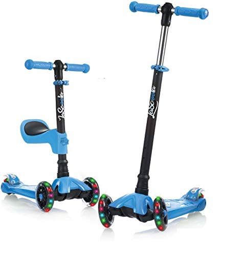 Lascoota Kick Scooter for Kids - Adjustable Height w/ Extra-Wide Deck PU Flashing Wheels Great Kids Scooter & Toddler Scooter 3-12 Years Old (Blue, 2 in 1 with Seat)