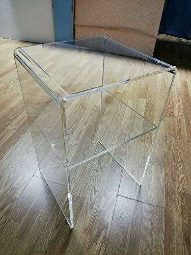 Astroplastic Tavolino Comodino Sgabello Soggiorno Salotto in plexiglass PMMA Trasparente con mensola cm (Misure: cm H40 x L30 x P30 - Spessore 8mm)