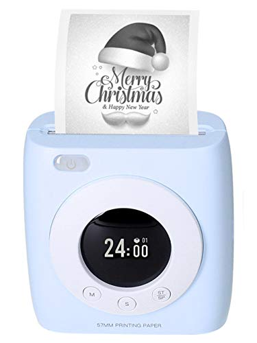 Xyfw Imprimante Photo Thermique sans Fil De Poche, Imprimante BT 300Dpi HD avec Horloge pour Étiquette De Note De Mémo d'image Utilisation d'impression en Langues Multiples avec APP, Bleu,7 Paper