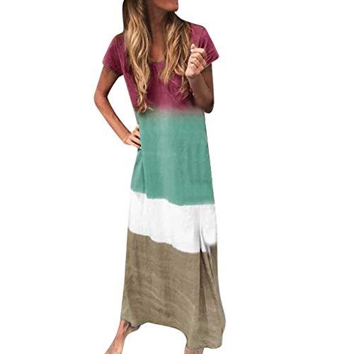 Zottom Ladies Fashion Print Mehrfarbig getäfeltes Kurzarmkleid Knöchellanges Kleid(Grün,Small)