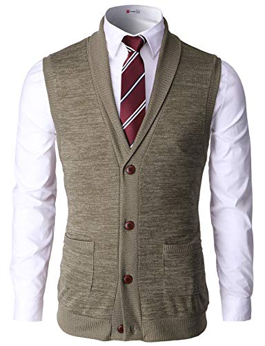 H2H Men Casual Basic Shawl Collar Knitted Slim Fit Vest with Ribbing Edge Beige US 3XL/Asia 4XL (CMOV034)