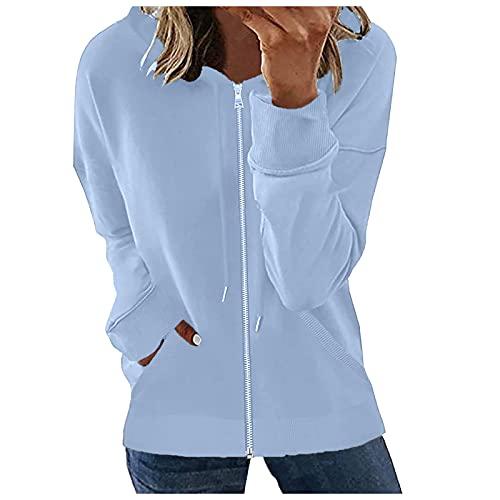 Womens Plain Hoodie Damen Kapuzen-Reißverschluss-Reißverschluss-Gummiband-Oberseiten Sweat-Shirt mit Reißverschluss-Kapuzen-Herbst-Pullover mit Tasche