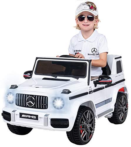 Actionbikes Motors Kinder Elektroauto Mercedes Benz Amg G63 W463 - Lizenziert - 2,4 Ghz Fernbedienung - Ledersitz - Elektro Auto für Kinder ab 3 Jahre (Weiß)
