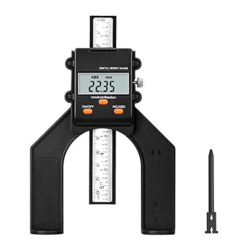 Digitaler Tiefenmesser, 0~80mm Profiltiefenmesser, Höhenmesser für Oberfräse, Tiefenlehre mit Magnetischen Füßen für Holzbearbeitung und Maschinenbau