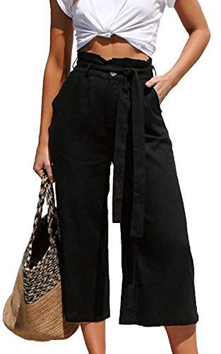 ECOWISH Damen Hosen Lang Weites Bein Sommerhose Gummibund Freizeithose mit Taschen und Gürtel Schwarz L
