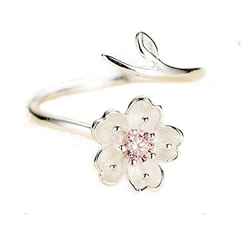 Aiuin Verstellbarer Silberring, Kirschblüte, romantisch, für Frauen und Mädchen, inkl. Schmuckbeutel