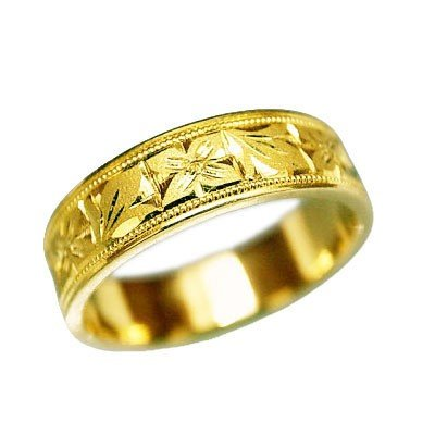 K18 指輪 大きいサイズ 鍛造(たんぞう)平打違い葉オレンジ彫リング巾5mm7g ゴールドリング 彫金 マリッジ 結婚 記念日 プレゼント オリジナル(29号)