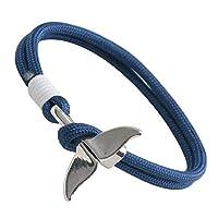 [silver KYASYA]ステンレス コードブレスレット 紐 イルカ ドルフィンテール 尻尾 カラフル ビビット シルバー 全11カラー お揃い ペア リストバンド (A-ブルー)