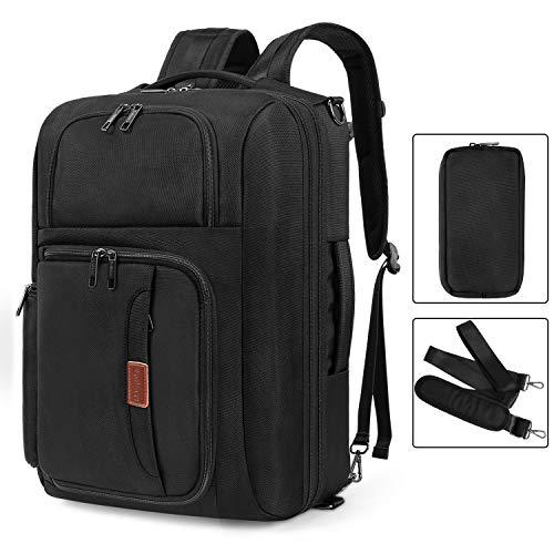 Srotek 17.3 inch Convertible Laptop Backpack Large Messenger Bag Shoulder Bag Business Briefcase Carry-On Luggage Backpack Case with Removable Strap, Pouch for Travel School Men, Black