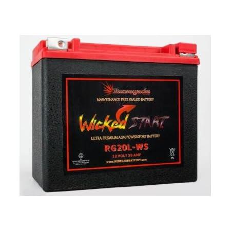 RG20L-WS Wicked Start 500+ CCA Battery; Harley 1997 Springer Softail; Part# 16L-BS, BTX20L-BS, ES20LBS, YTX20L-BS, 65989-97A/B/C