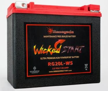 RG20L-WS Wicked Start 500+ CCA Battery; Harley 1993 Dyna Low Rider; Part# 16L-BS, BTX20L-BS, ES20LBS, YTX20L-BS, 65989-97A/B/C