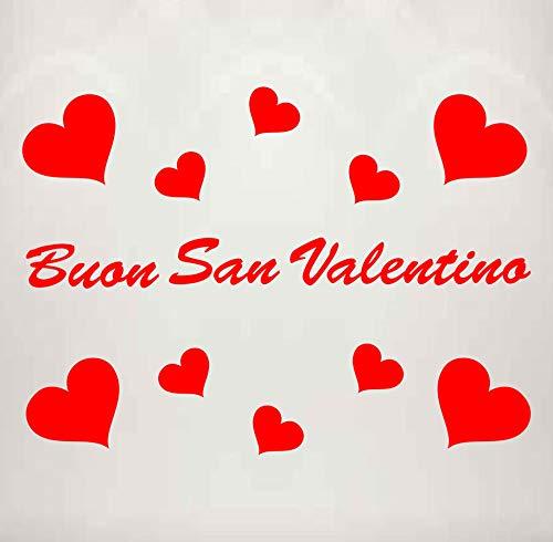 Vetrofania San Valentino - 11 Adesivi - - Cuori Adesivi - Rosso - Vetrine per Negozi - - Love, San Valentino, Stickers, Adesivi