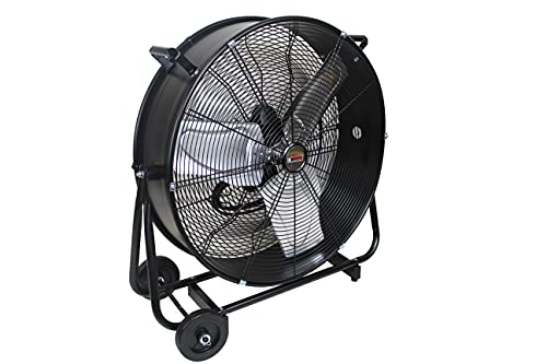 K Tool International 24 Inch Direct Drive Tilting High Velocity Movement Heavy Duty Drum 3 Speed Air Circulator Fan; For Industrial, Commercial, Residential, and Greenhouse Use, Black; KTI77741