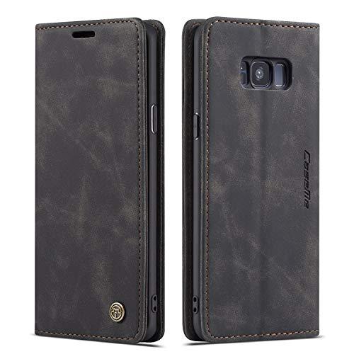 QLTYPRI Hülle für Samsung Galaxy S8 Plus, Vintage Dünne Handyhülle mit Kartenfach Geld Slot Ständer PU Ledertasche TPU Bumper Flip Schutzhülle Kompatibel mit Samsung Galaxy S8 Plus - Schwarz