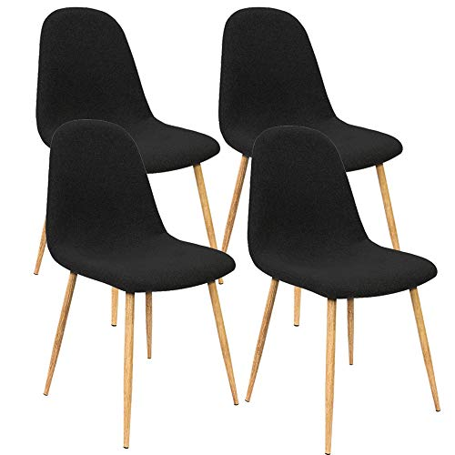 Deuba 4er Set Esszimmerstühle Küchenstühle Polsterstühle Design Bequem Gepolstert 120 kg belastbar Stoff-Bezug Schwarz