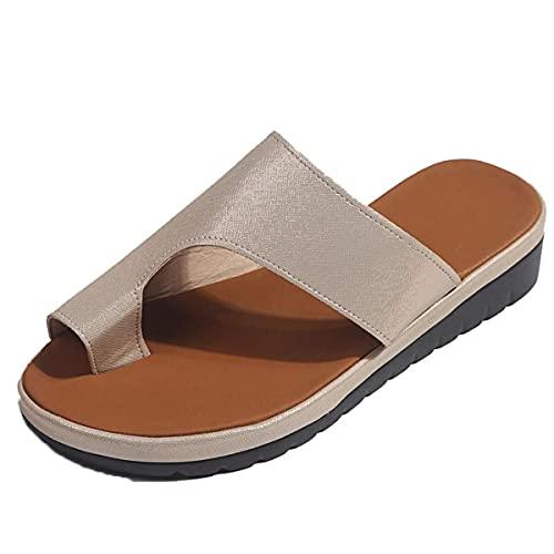 Sandalias para mujer Flips Flops Cómodas zapatillas de plataforma Cómodas señoras Verano Playa Corrector juanetes ortopédico Resbalón en cuña Zapatos antideslizantes casuales Oro 38 EU