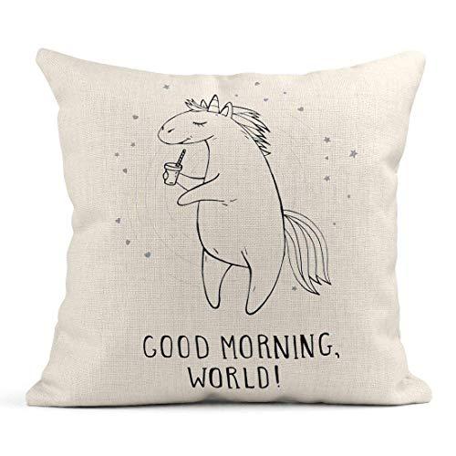 Dekokissen Cute Unicorn Stars Hearts Kaffee und Text \u0026 ndash; Welt des gutenmorgens an mit Cartoon-einfarbigem Leinenkissen-Ausgangsdekorativem Kissen