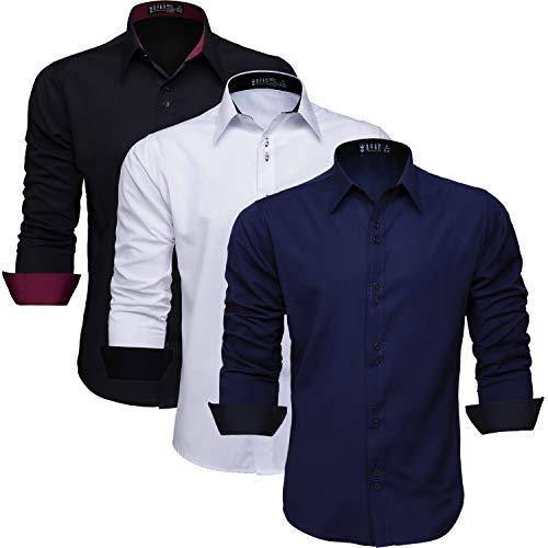 kit camisa masculina manga comprida que não amassa, Azul Marinho, Preta e Branca (M)
