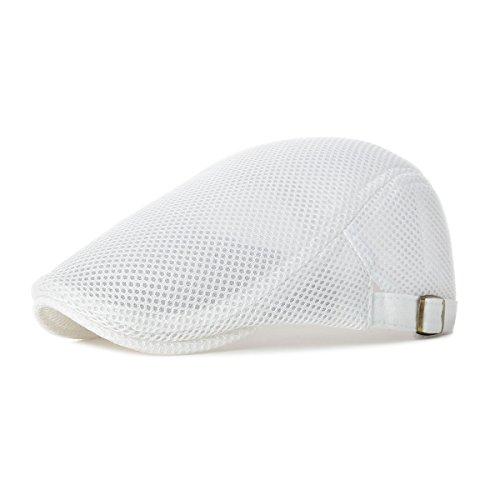 VOBOOM Men Breathable Mesh Summer Hat Adjustable Newsboy Beret Ivy Cap Cabbie Flat Cap (White)