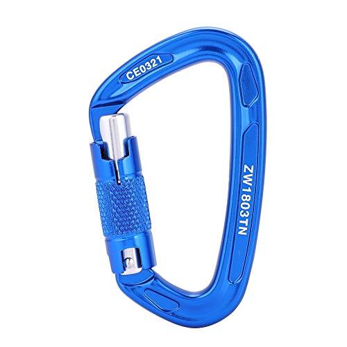 Filfeel Clip de Mousqueton Verrouillage de sécurité, 25KN sécurité Professionnelle Master D Boucle extérieure Escalade équipement de Sauvetage Mousqueton(Bleu)