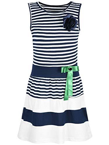 Kmisso Mädchen Kleid Kinder-Kleider Sommer-Kleid Ärmellos Gestreift Schleife 30049 Blau 116