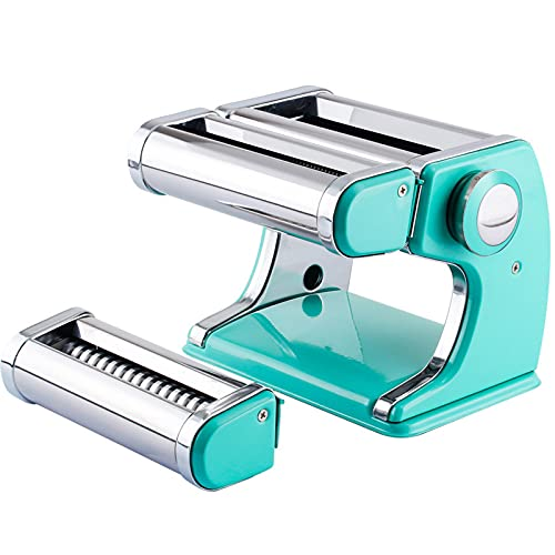 Pasta Maker 5 i 1 Färsk pasta Maker Machine Roller-Spaghetti Tagliatelle Ravioli Fettuccine-med 2 Cut Press Blade Inställningar blue